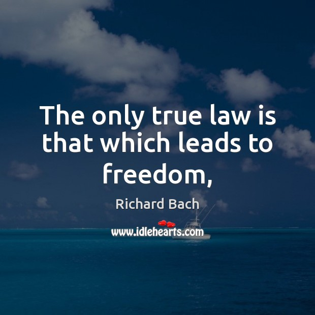 The only true law is that which leads to freedom, Richard Bach Picture Quote