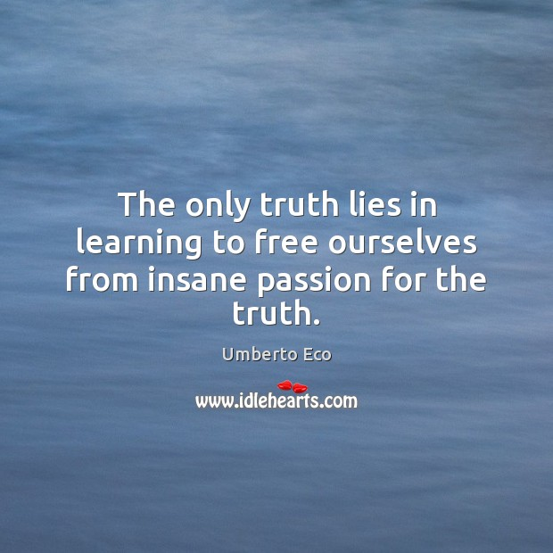 Image, The only truth lies in learning to free ourselves from insane passion for the truth.