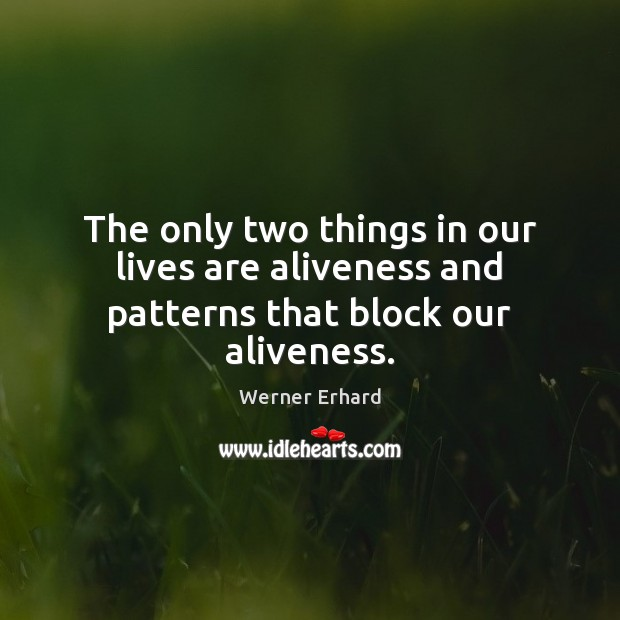The only two things in our lives are aliveness and patterns that block our aliveness. Werner Erhard Picture Quote