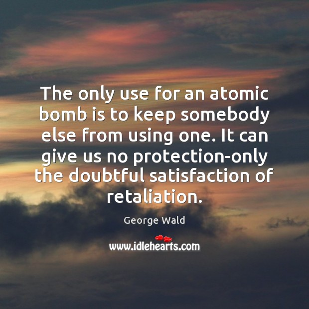 Image, The only use for an atomic bomb is to keep somebody else