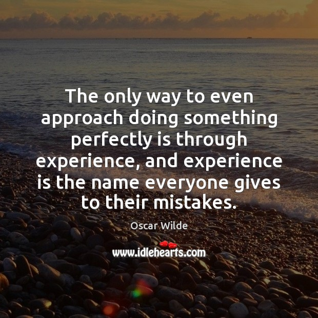 Image, The only way to even approach doing something perfectly is through experience,