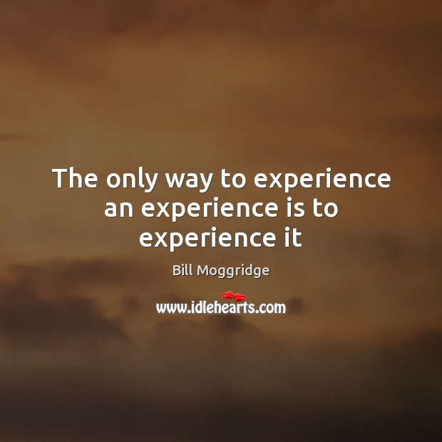 Image, The only way to experience an experience is to experience it
