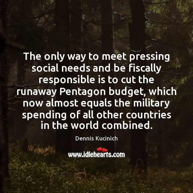 The only way to meet pressing social needs and be fiscally responsible Dennis Kucinich Picture Quote