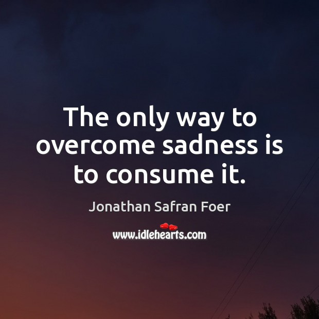 The only way to overcome sadness is to consume it. Jonathan Safran Foer Picture Quote