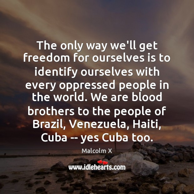 The only way we'll get freedom for ourselves is to identify ourselves Malcolm X Picture Quote