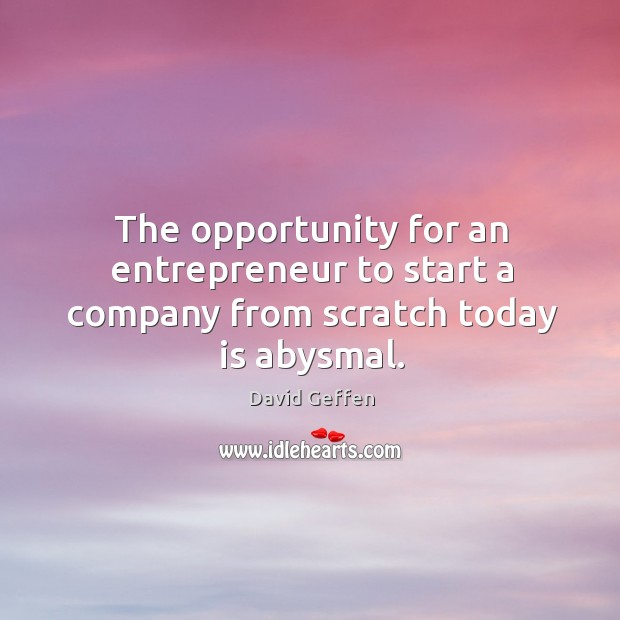 The opportunity for an entrepreneur to start a company from scratch today is abysmal. David Geffen Picture Quote