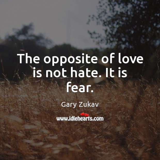 The opposite of love is not hate. It is fear. Gary Zukav Picture Quote