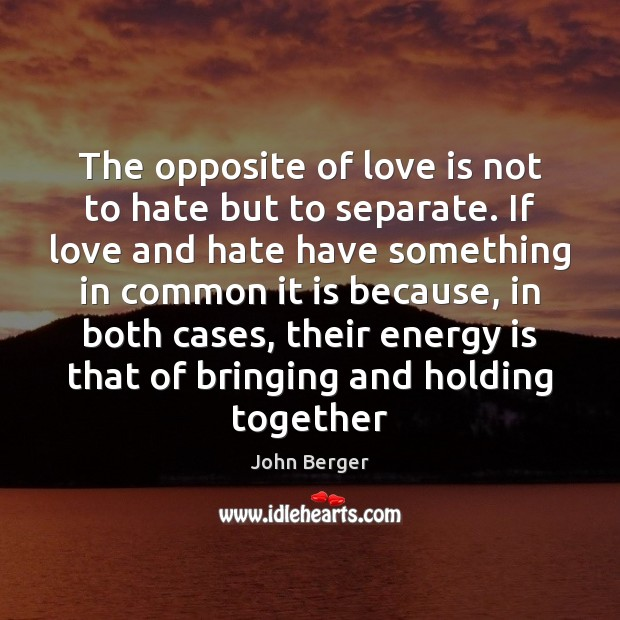 The opposite of love is not to hate but to separate. If Love and Hate Quotes Image