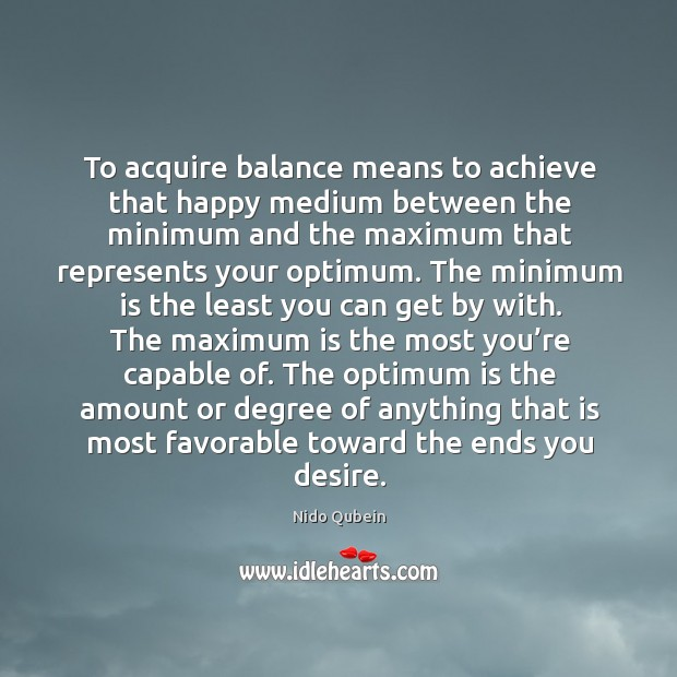 The optimum is the amount or degree of anything that is most favorable toward the ends you desire. Image