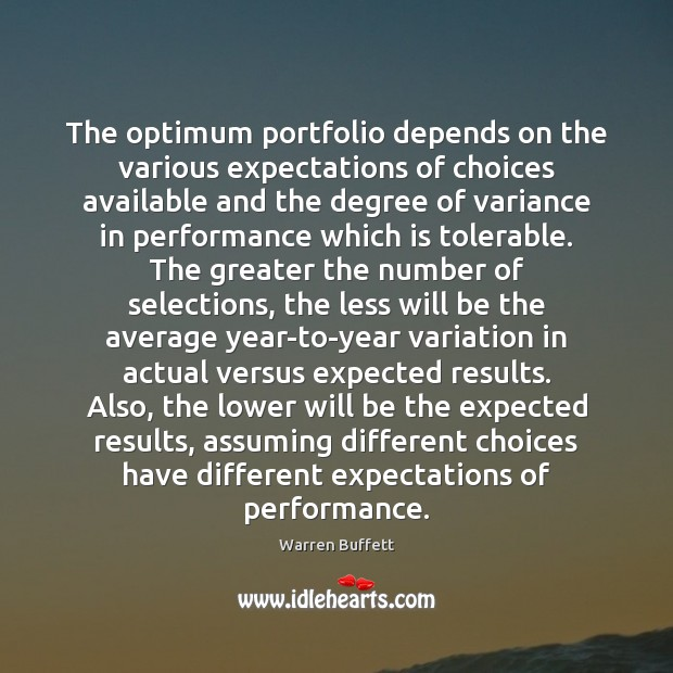 Image, The optimum portfolio depends on the various expectations of choices available and