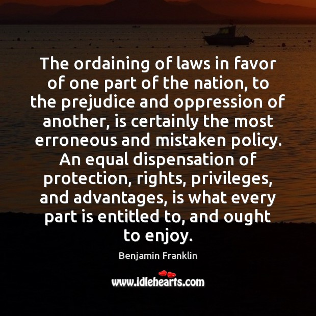 The ordaining of laws in favor of one part of the nation, Image