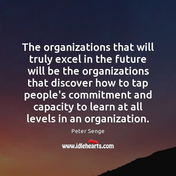 The organizations that will truly excel in the future will be the Peter Senge Picture Quote