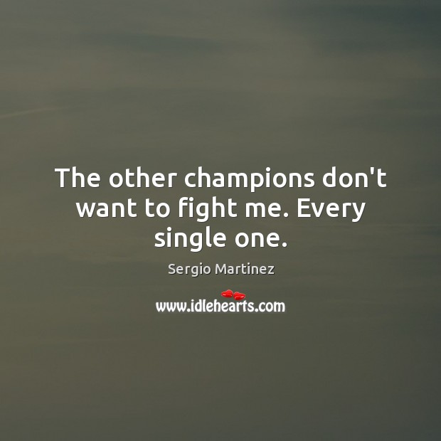 The other champions don't want to fight me. Every single one. Sergio Martinez Picture Quote