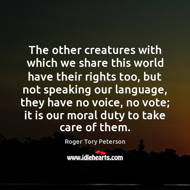 The other creatures with which we share this world have their rights Image