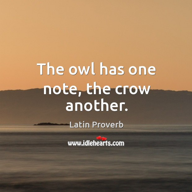 Image, The owl has one note, the crow another.