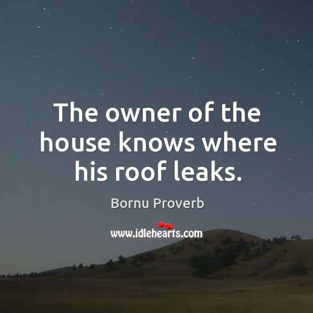 The owner of the house knows where his roof leaks. Bornu Proverbs Image