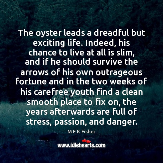 The oyster leads a dreadful but exciting life. Indeed, his chance to Image