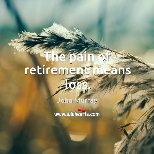 The pain of retirement means loss. Retirement Quotes Image