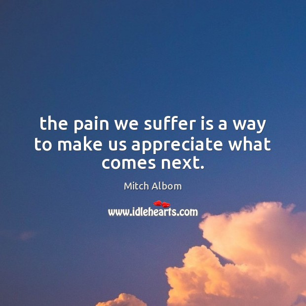 The pain we suffer is a way to make us appreciate what comes next. Mitch Albom Picture Quote
