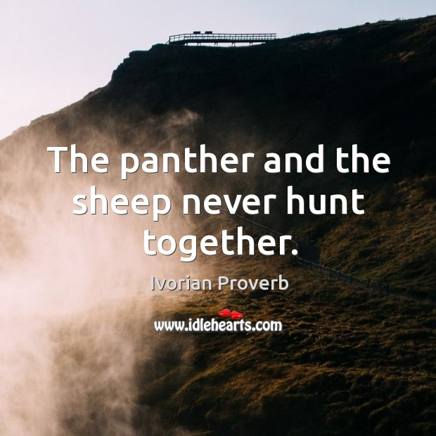The panther and the sheep never hunt together. Ivorian Proverbs Image