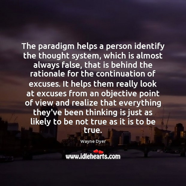 Image, The paradigm helps a person identify the thought system, which is almost