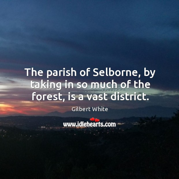 The parish of selborne, by taking in so much of the forest, is a vast district. Image
