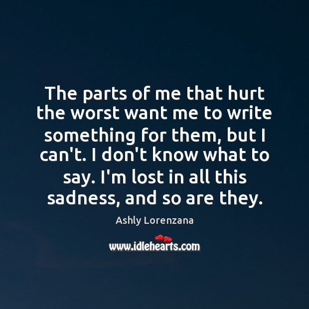 Image, The parts of me that hurt the worst want me to write