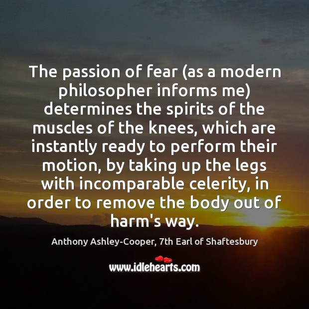 Image, The passion of fear (as a modern philosopher informs me) determines the