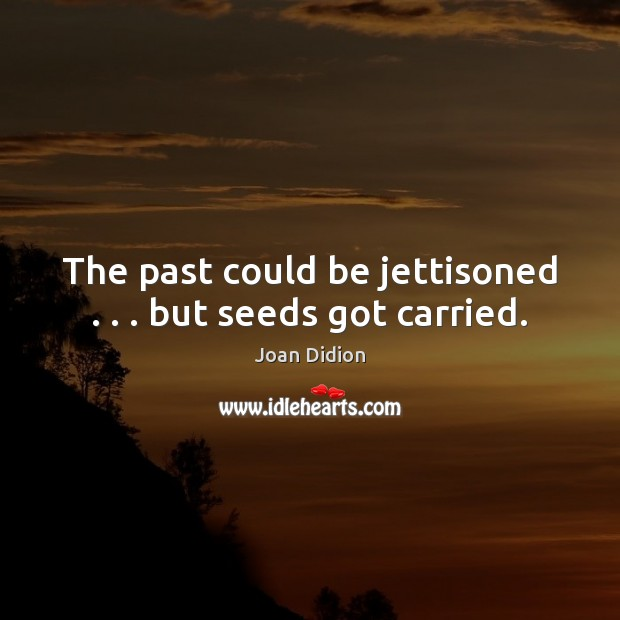 The past could be jettisoned . . . but seeds got carried. Joan Didion Picture Quote
