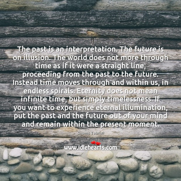 Image, The past is an interpretation. The future is on illusion. The world