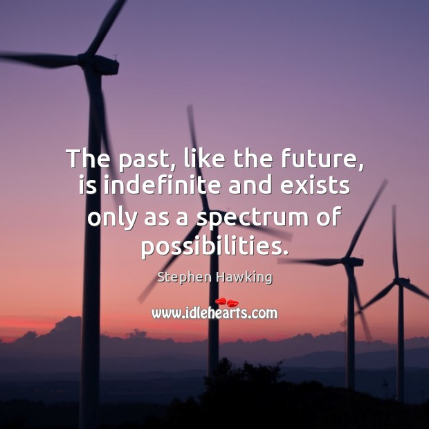 The past, like the future, is indefinite and exists only as a spectrum of possibilities. Image