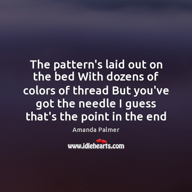 Image, The pattern's laid out on the bed With dozens of colors of