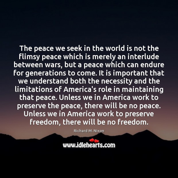Image, The peace we seek in the world is not the flimsy peace