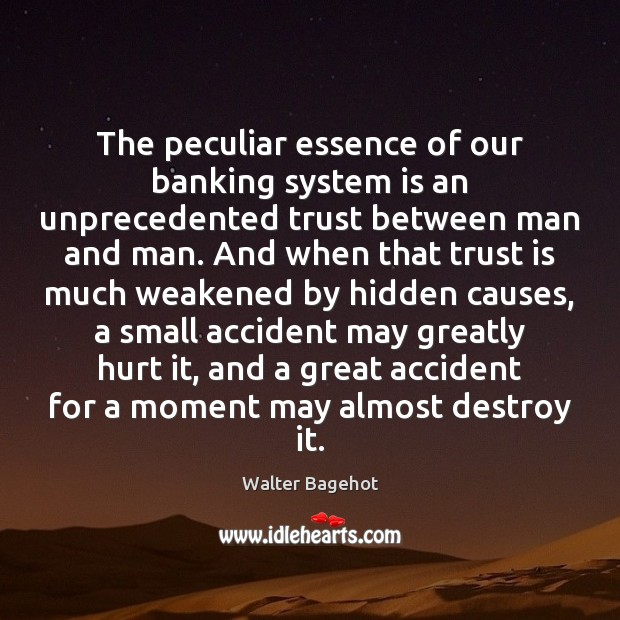 The peculiar essence of our banking system is an unprecedented trust between Trust Quotes Image