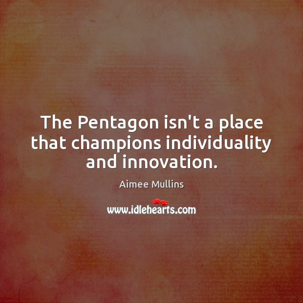 The Pentagon isn't a place that champions individuality and innovation. Aimee Mullins Picture Quote