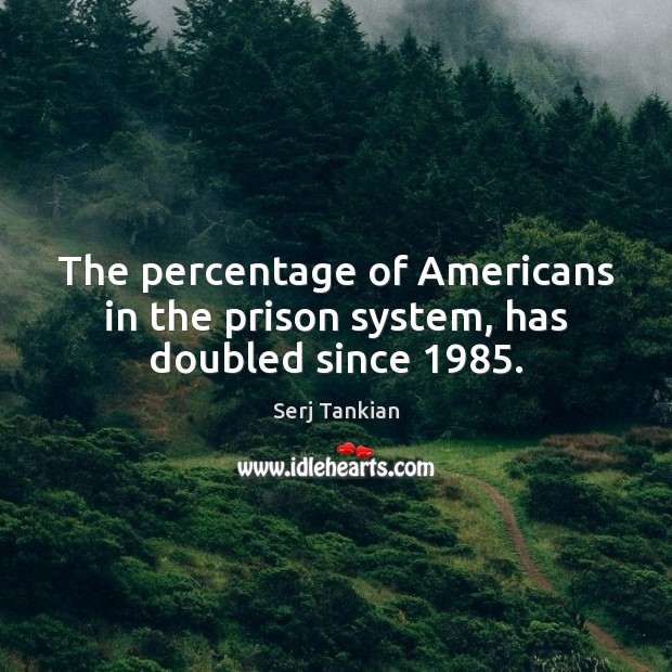 The percentage of Americans in the prison system, has doubled since 1985. Image