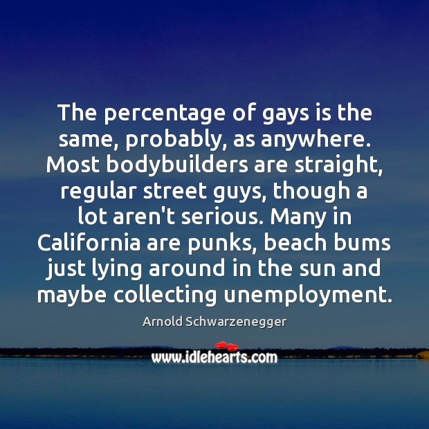 Image, The percentage of gays is the same, probably, as anywhere. Most bodybuilders