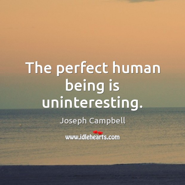 The perfect human being is uninteresting. Joseph Campbell Picture Quote