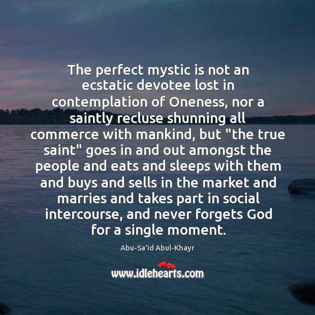 Image, The perfect mystic is not an ecstatic devotee lost in contemplation of