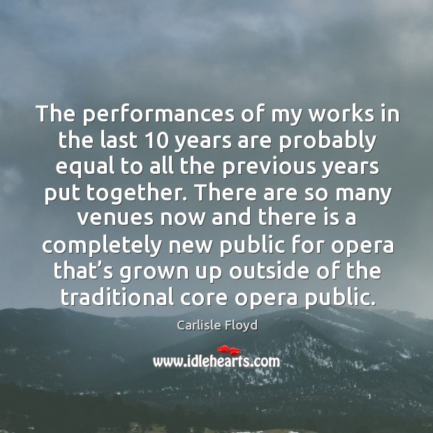 The performances of my works in the last 10 years are probably equal to all the Image
