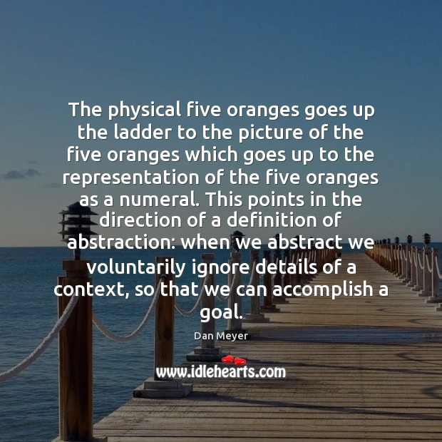 The physical five oranges goes up the ladder to the picture of Image