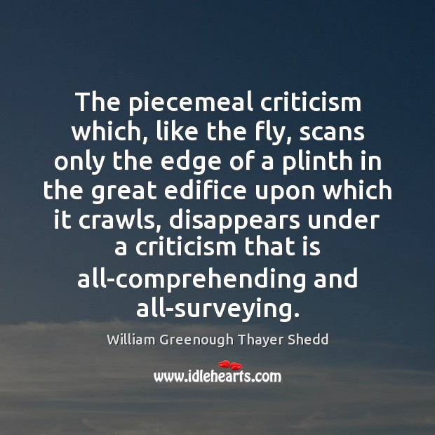 The piecemeal criticism which, like the fly, scans only the edge of Image