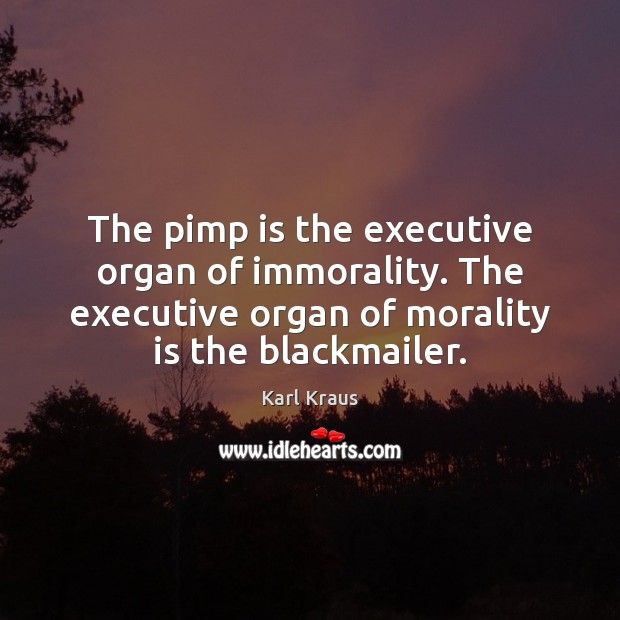 The pimp is the executive organ of immorality. The executive organ of Karl Kraus Picture Quote