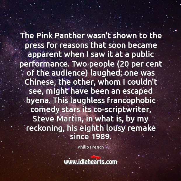 The Pink Panther wasn't shown to the press for reasons that soon Image