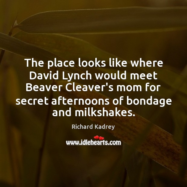 The place looks like where David Lynch would meet Beaver Cleaver's mom Image