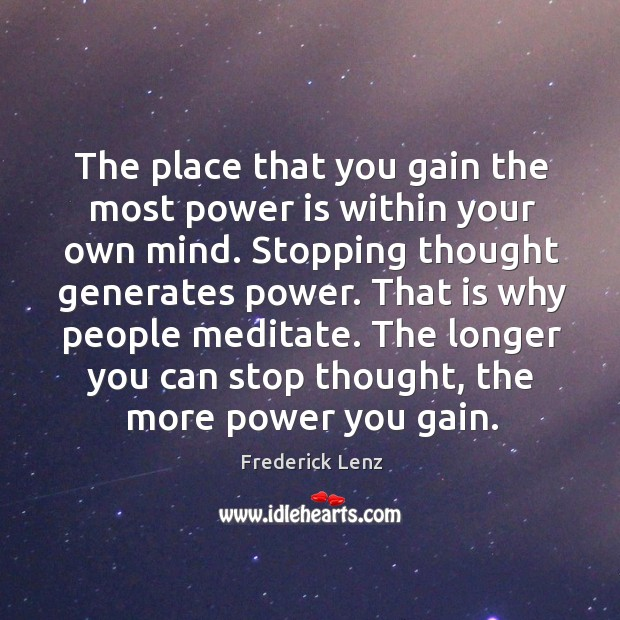 Image, The place that you gain the most power is within your own