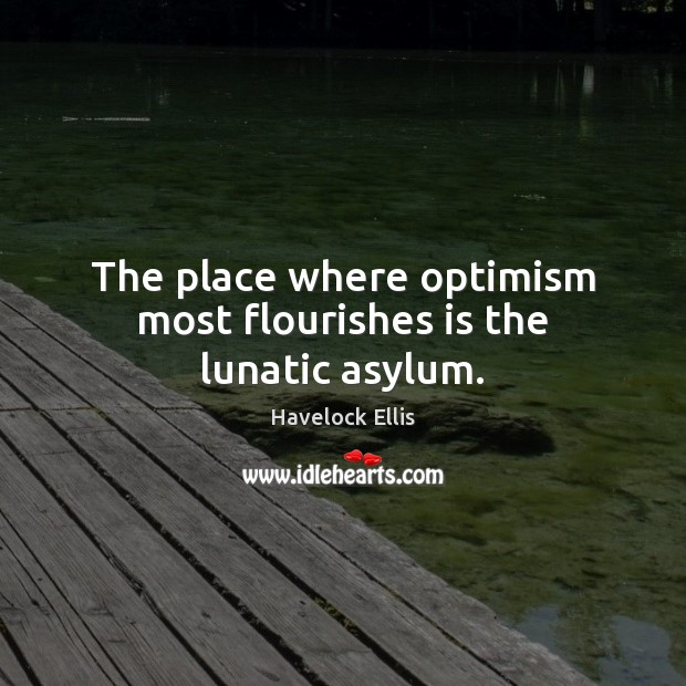 The place where optimism most flourishes is the lunatic asylum. Image