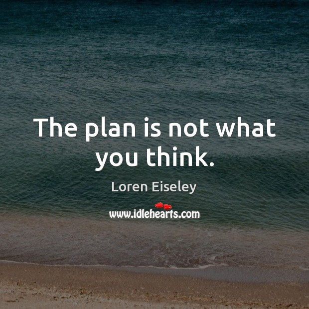 The plan is not what you think. Loren Eiseley Picture Quote