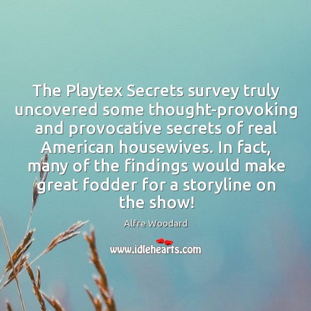The Playtex Secrets survey truly uncovered some thought-provoking and provocative secrets of Image