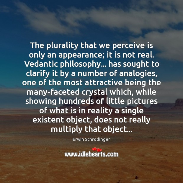 The plurality that we perceive is only an appearance; it is not Erwin Schrodinger Picture Quote